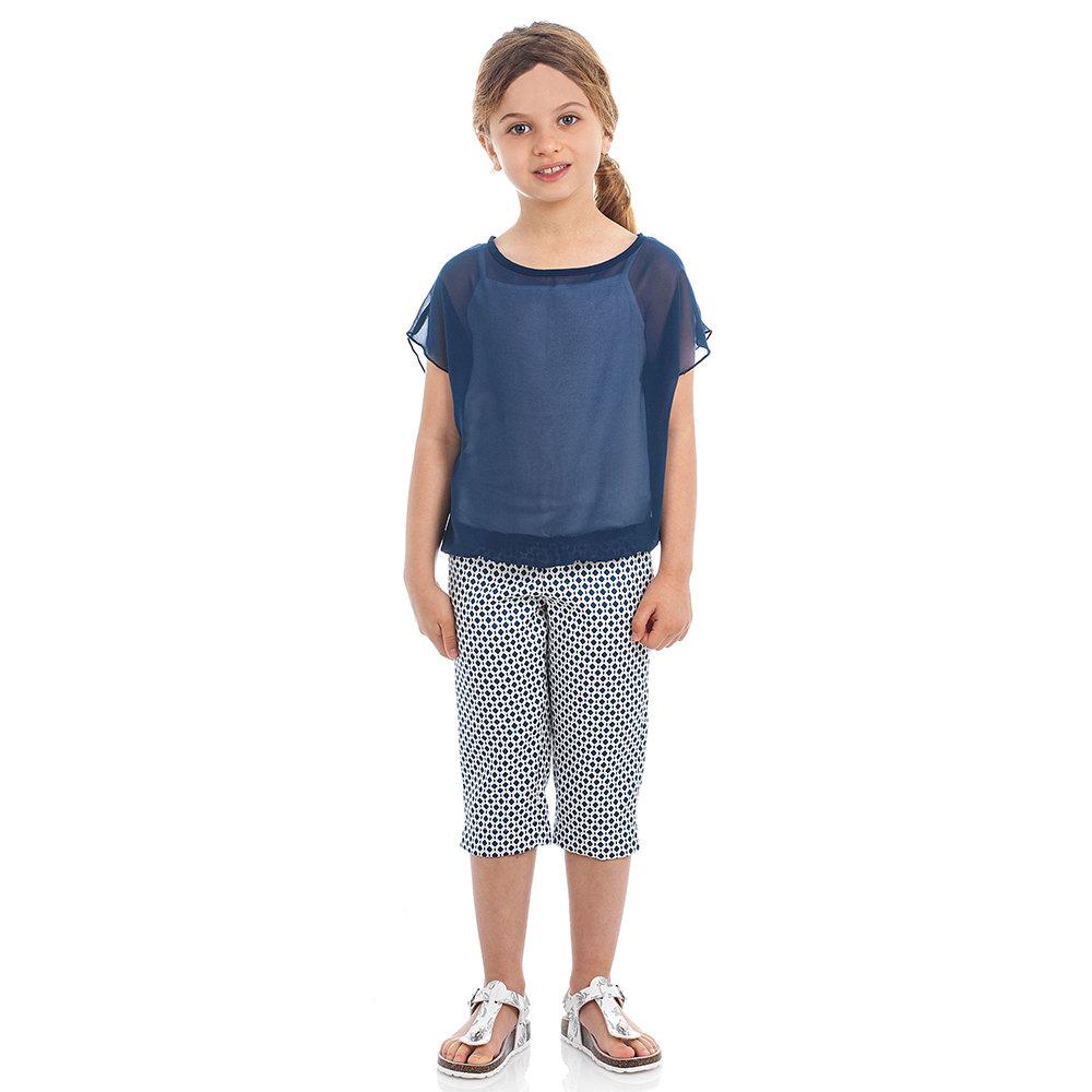 03a5d406859cfd Completo da bambina top e pantaloni a pinocchietto, blu - BIMBUS ...