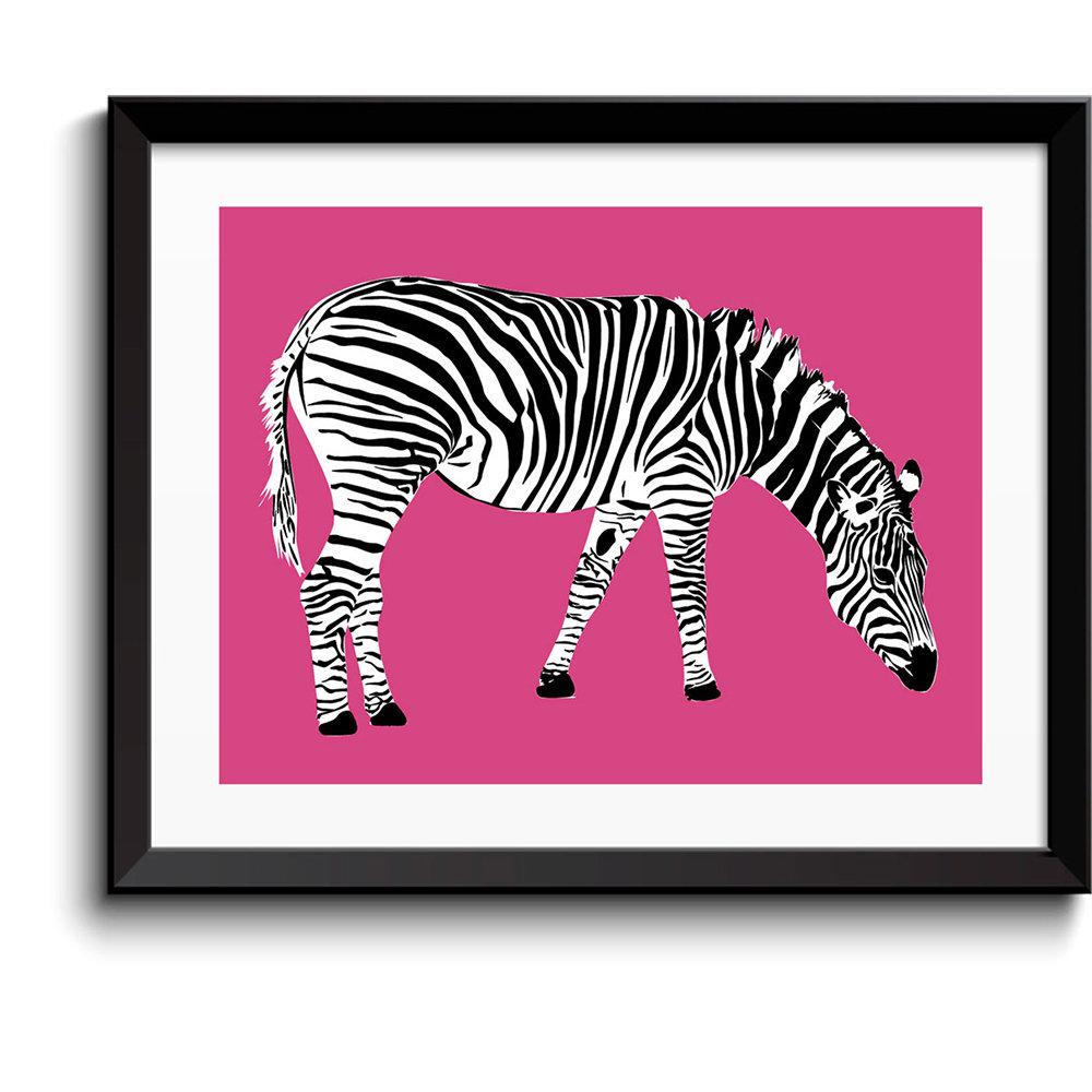 Quadro Con Cornice In Legno Zebra Sfondo Rosa Design Ville