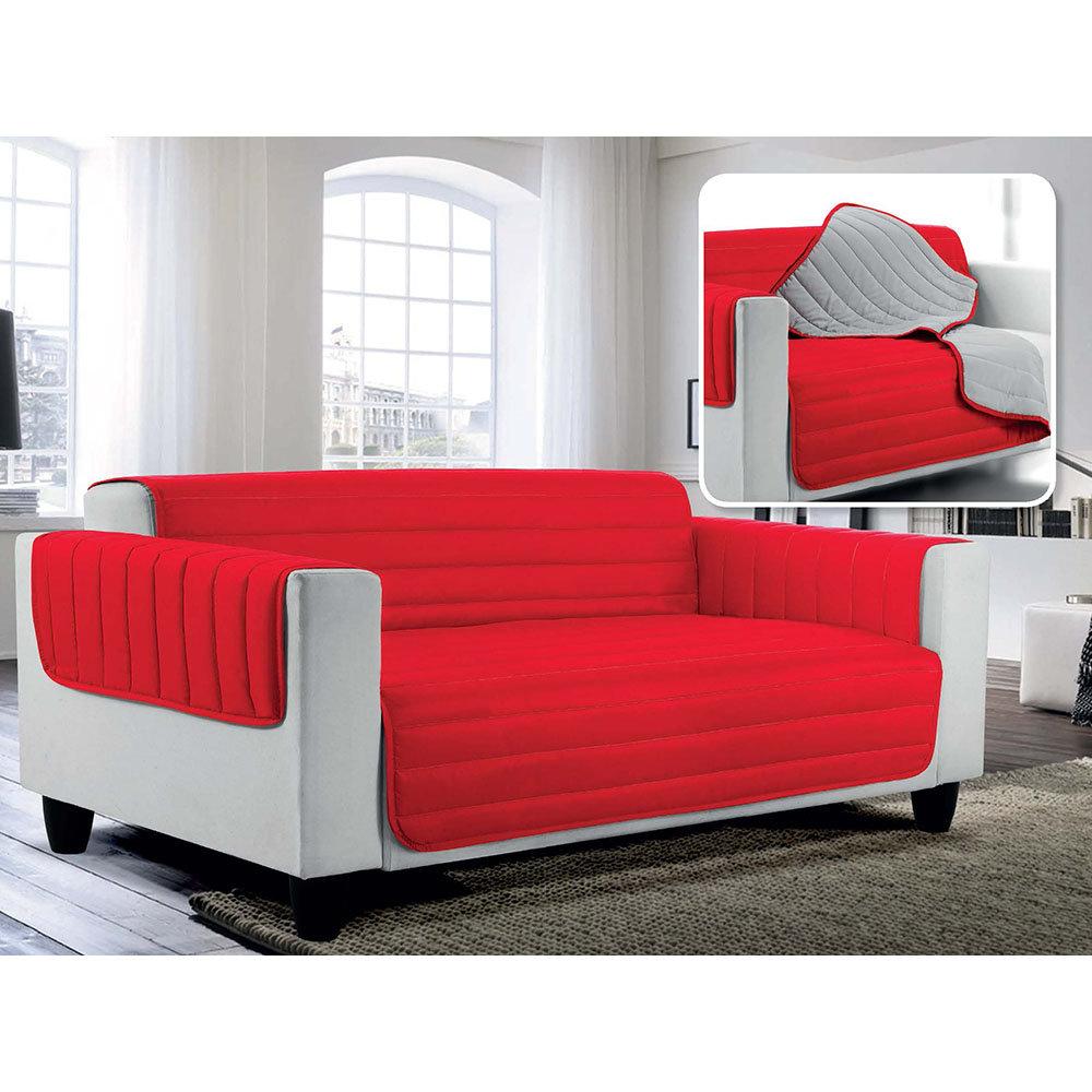 Divano Rosso E Grigio copridivano trapuntato doubleface elegant, rosso/grigio chiaro