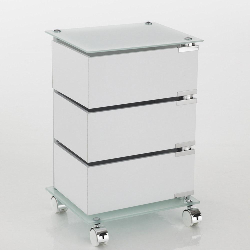 Cassettiera Con Rotelle Bagno.Cassettiera Con Ruote Bobo A 3 Cassetti In Mdf Laccato Bianco Un