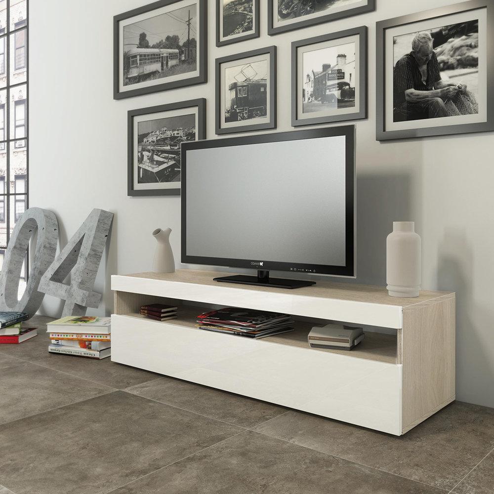 TUONI LIVING - Madia Porta Tv SONNY in legno laccato bianco/rovere