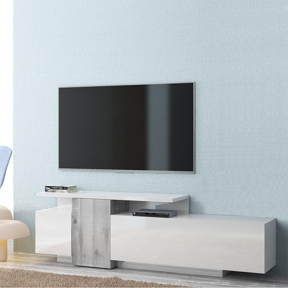 Madia Porta Tv SIRIO in legno laccato lucido, bianco/cemento - Tuoni Living  - Acquista su Ventis.