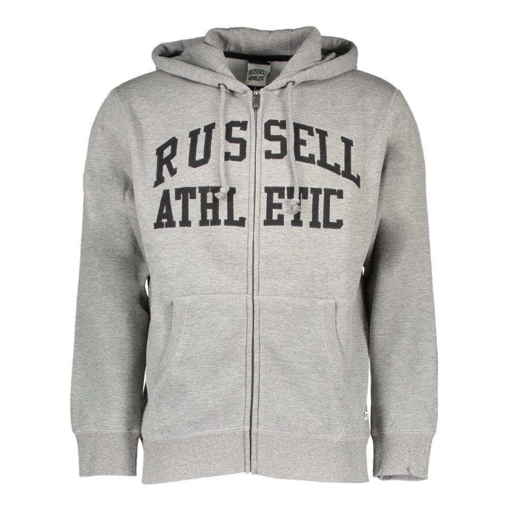 Felpa con cappuccio e zip, grigia Russell Athletic Uomo Acquista su Ventis.