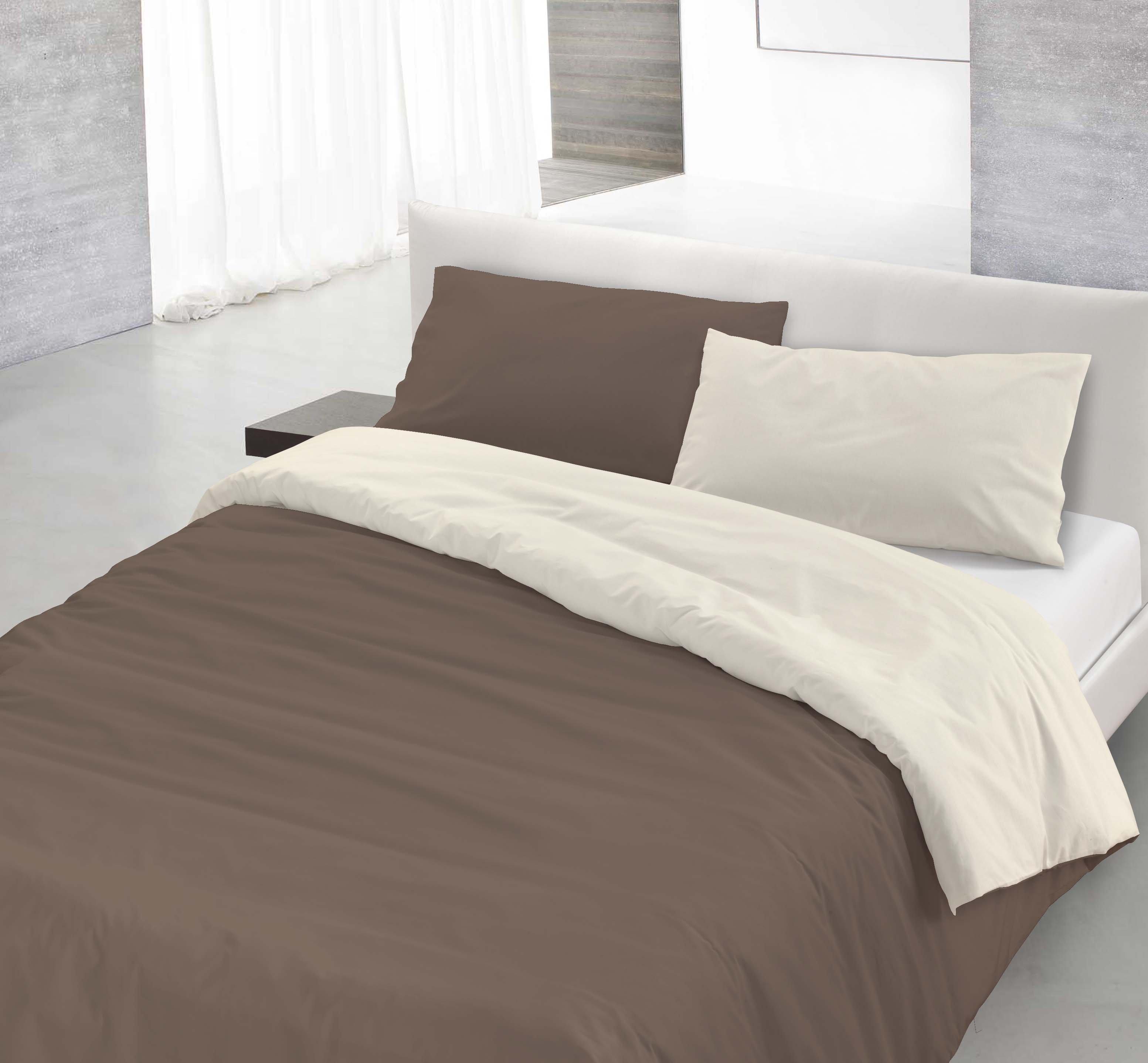 Parure copri piumino natural color marrone panna sogni a colori acquista su ventis - Piumino letto leggero ...