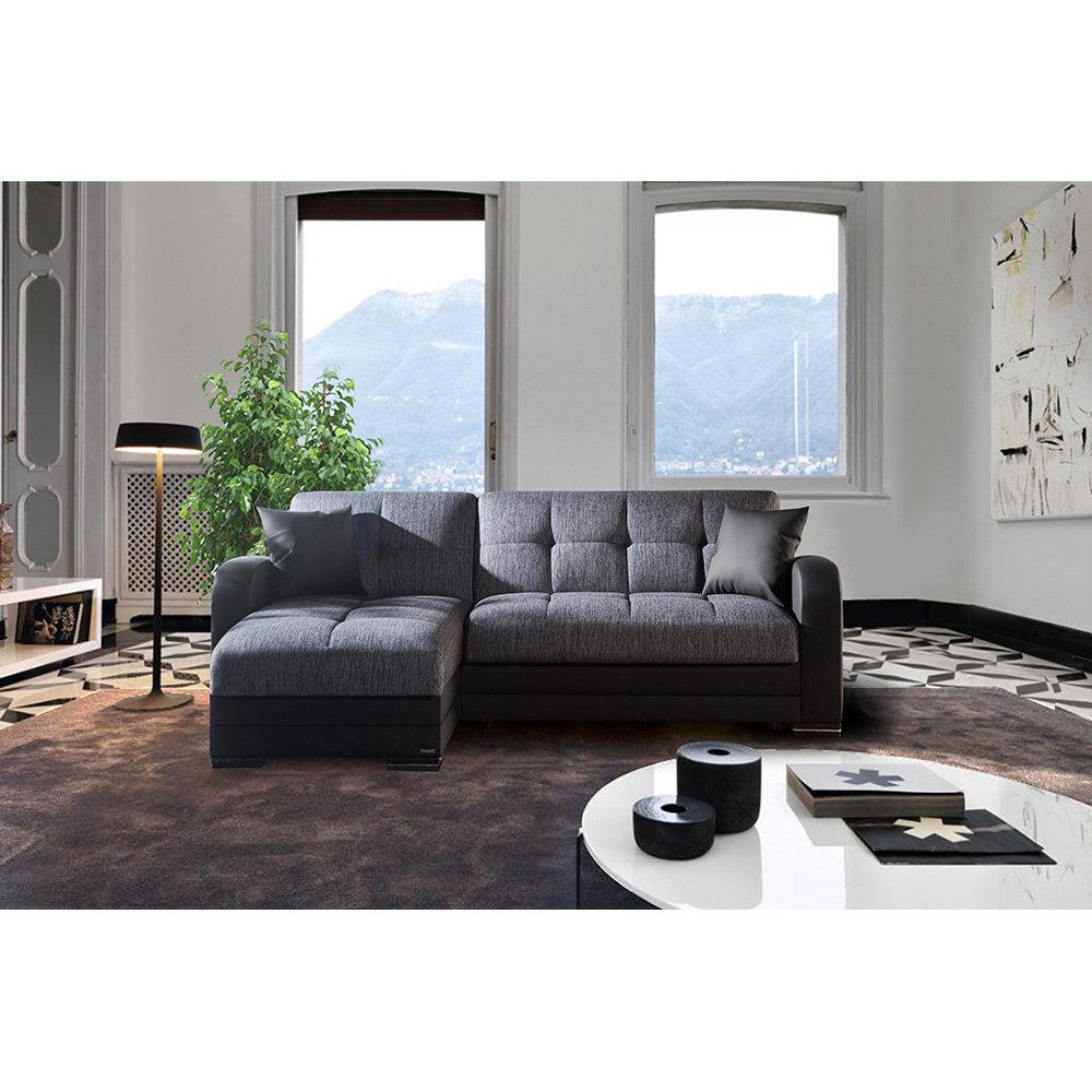 Divano letto trieste in ecopelle e tessuto nero grigio facondini divani acquista su ventis - Divano letto nero ...
