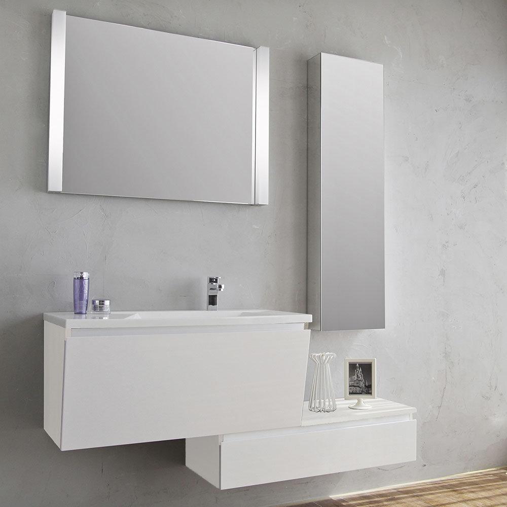 Base sospesa 1 anta bianco modern bath acquista su for Arredo bagno bianco