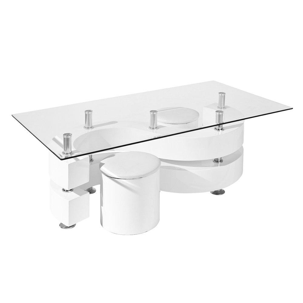 Tavolino con 2 pouf, bianco - 13 Casa Loft - Acquista su Ventis.