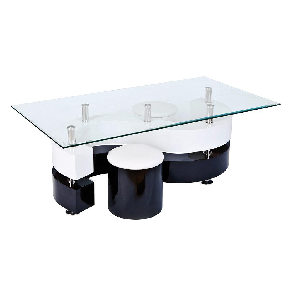 Tavolino con 2 pouf, bianco/nero - 13 Casa Loft - Acquista su Ventis.