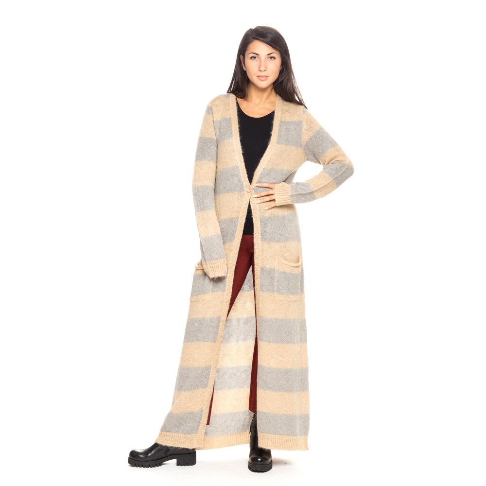 Cardigan lungo a righe beige e grigio - Patrizia Pepe Abbigliamento ...