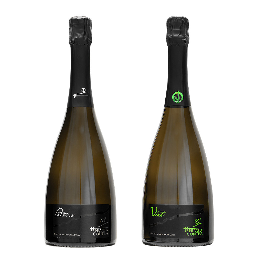 2 bottiglie miste: ''Primus'' Franciacorta Brut Cuvèe DOCG - ''Sul Vert'' Franciacorta Brut Vegano DOCG
