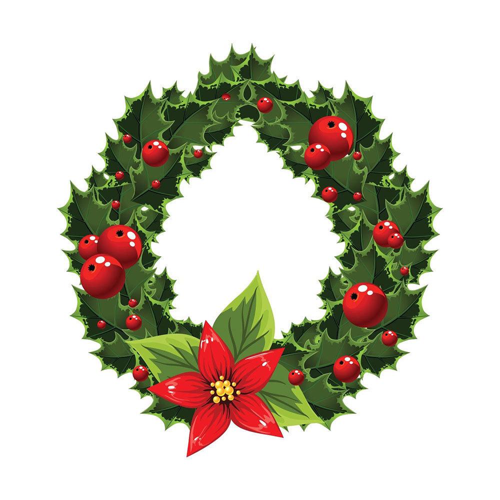 Christmas ghirlanda natalizia adesivo da muro - Agrifoglio immagini a colori ...
