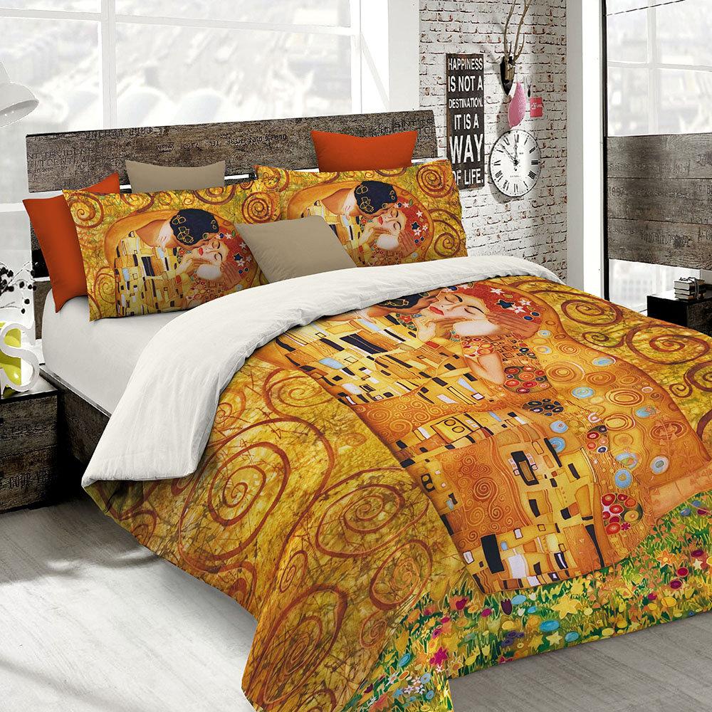 Parure Copripiumino Matrimoniale Klimt.Parure Copripiumino Con Stampa In Digitale Klimt 2 Piazze Sogni D Autore Acquista Su Ventis