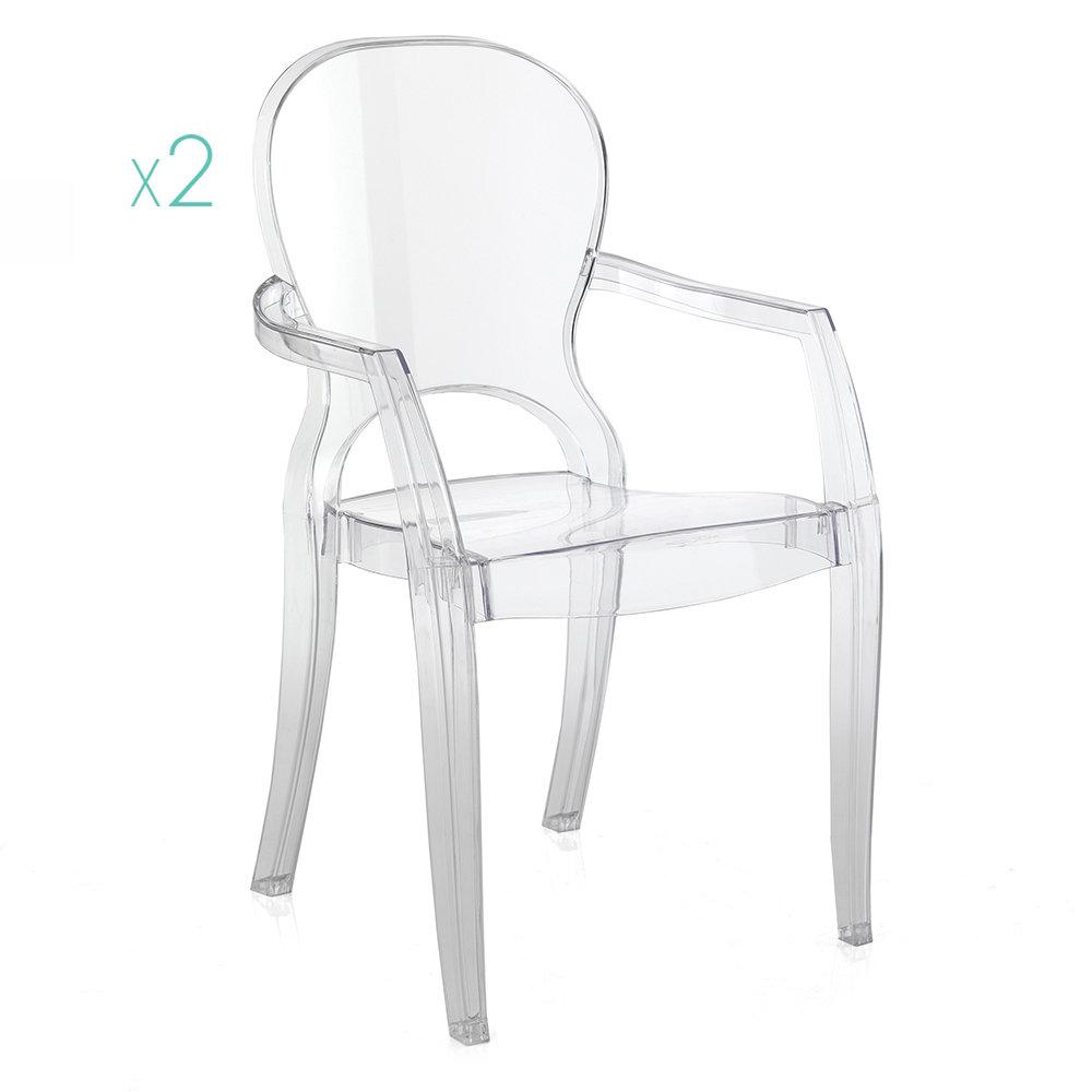 Set 2 sedie in policarbonato trasparente black e white for Sedie policarbonato