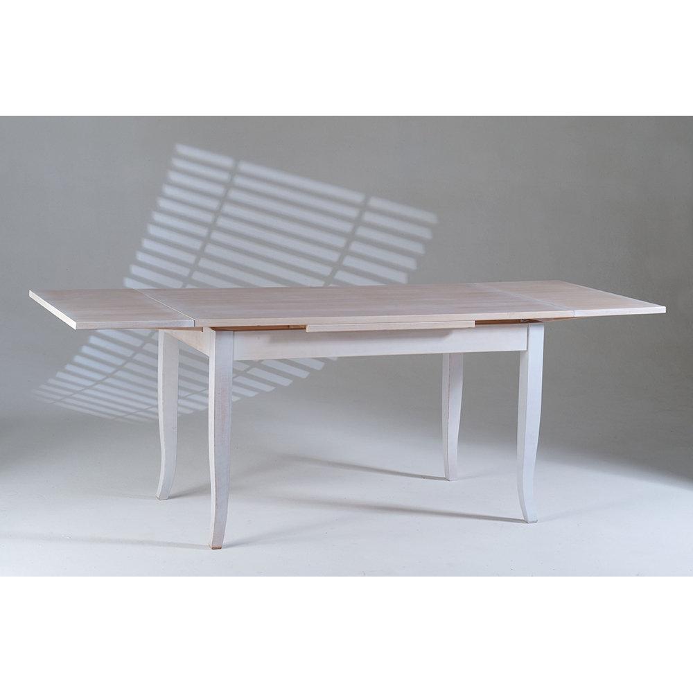 Tavolo allungabile justine bianco e top trasparente castagnetti shabby acquista su ventis - Tavolo trasparente allungabile ...