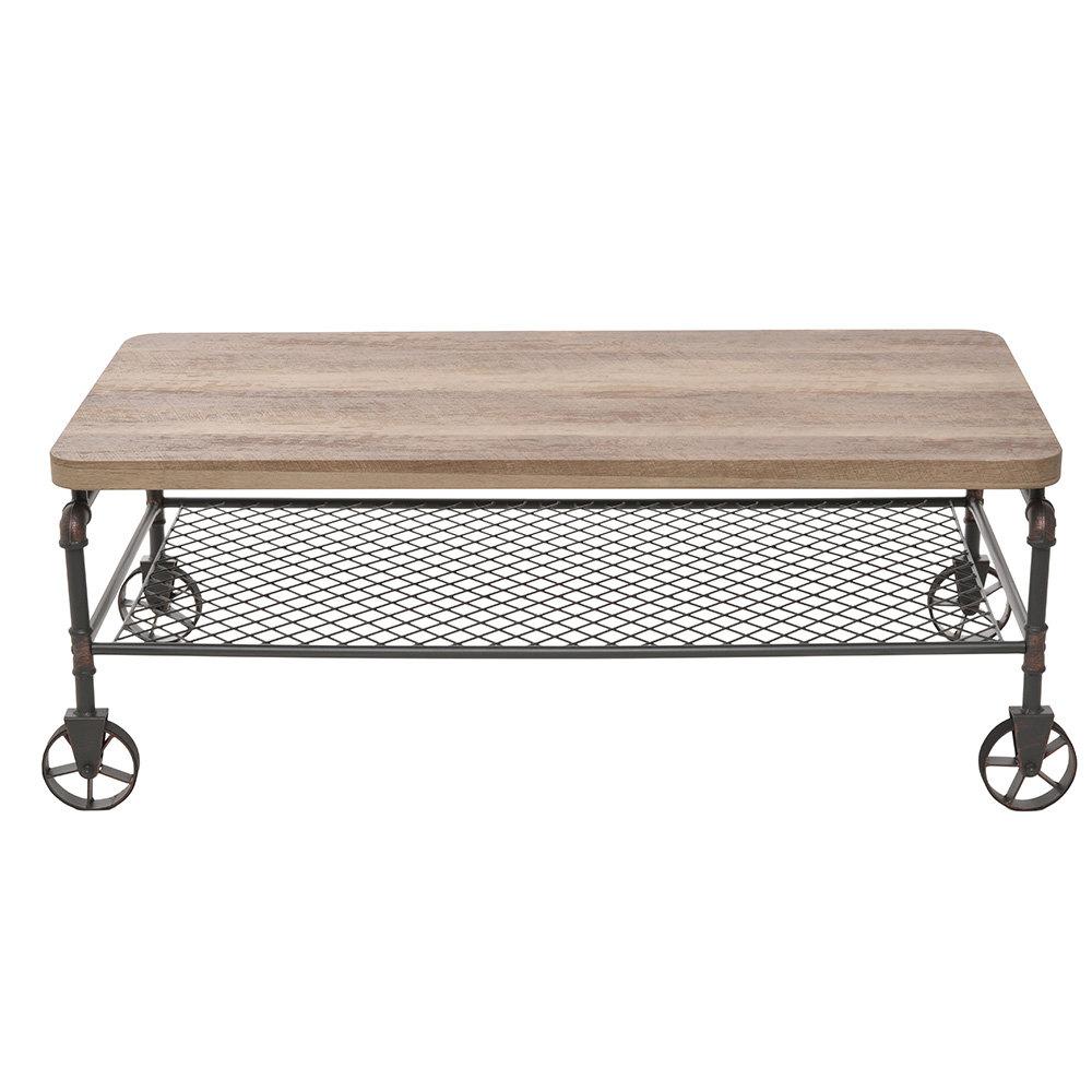 Tavolino Salotto Con Rotelle.Tavolino Da Salotto Con Ruote In Metallo E Legno Industrial Home Collection Acquista Su Ventis