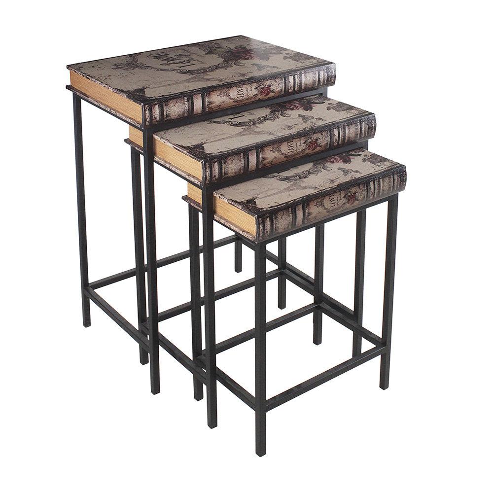 Set 3 tavolini in metllo e pelle industrial home for Tavolini industrial