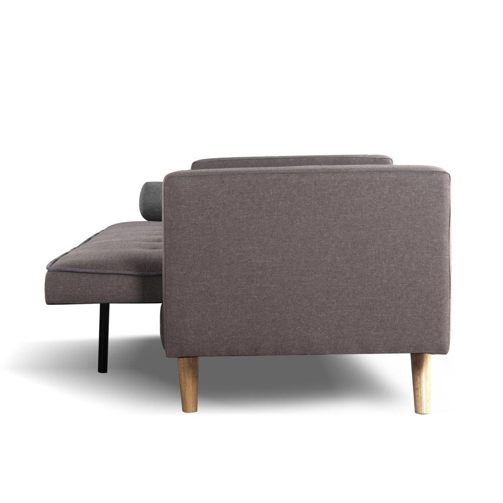Divano letto clack tortora bordino e cuscini grigi cribel contemporaneo acquista su ventis - Divano letto click clack ...