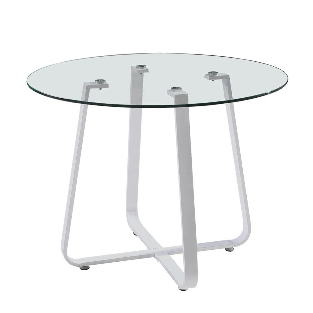 Tavolo aletha tondo vetro trasp base bianca cribel - Tavolo contemporaneo ...