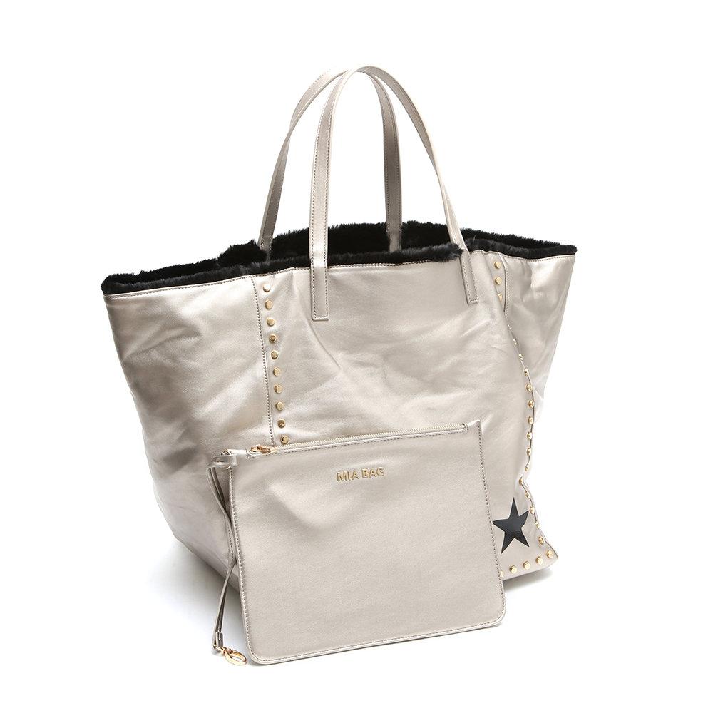 Borsa shopping reversibile platino MIA BAG Acquista su Ventis.