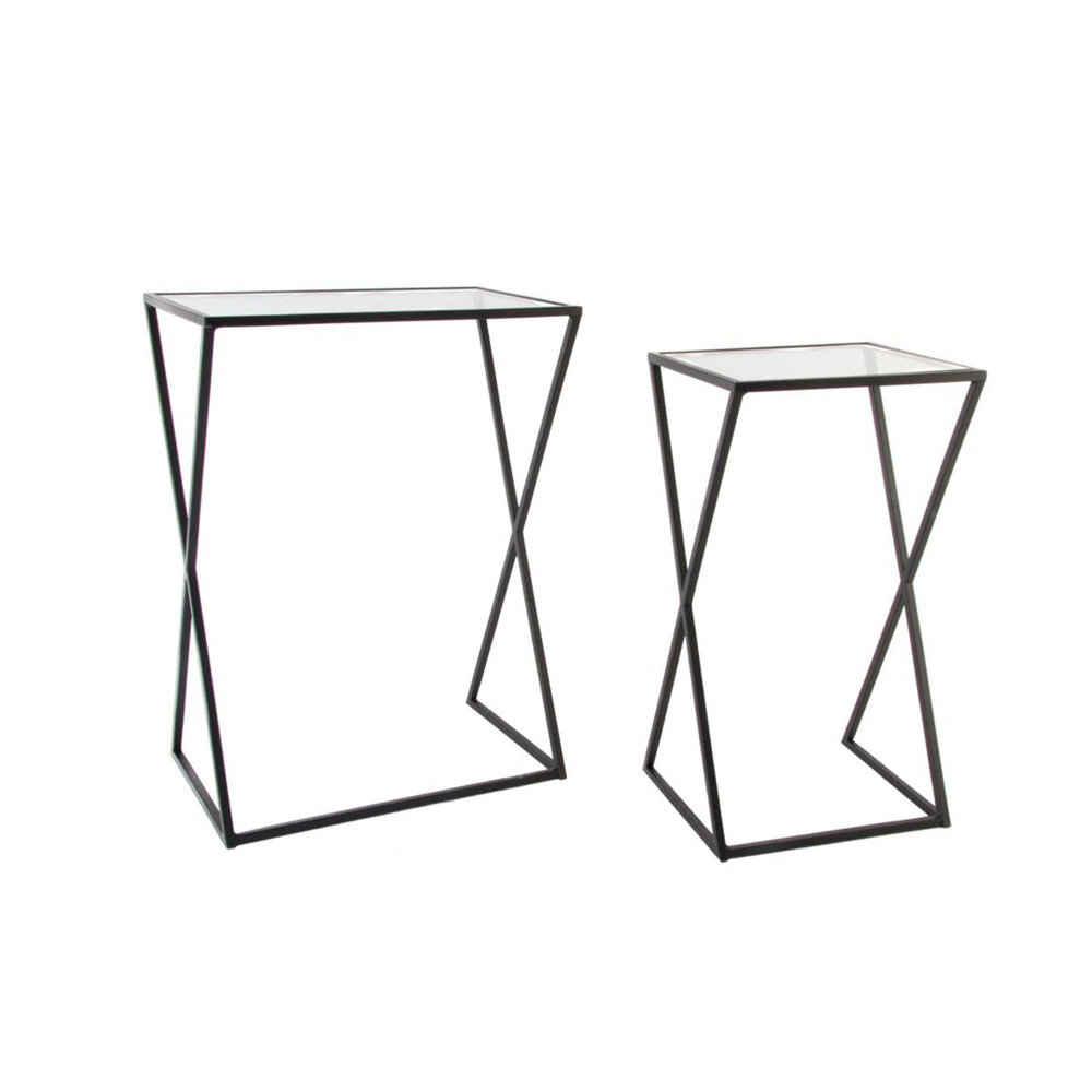 Set 2 tavolini cristallo nero industrial style for Tavolini industrial