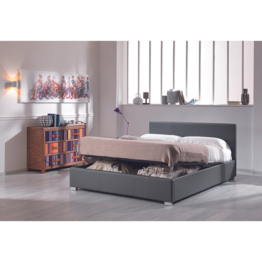 Letto matrimoniale c box cleve in similpelle grigio - Letto matrimoniale grigio ...
