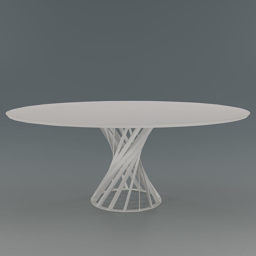 Tavolo lisbona ovale bianco twist design mineral for Tavolo ovale bianco design