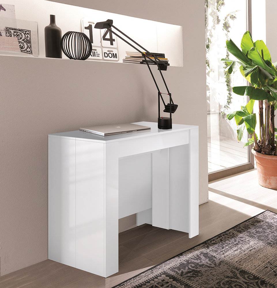 Consolle tavolo estendibile bianco compact design for Tavolo consolle allungabile mondo convenienza