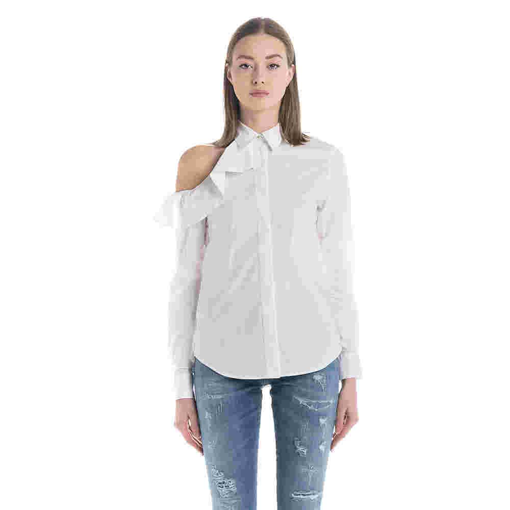 Camicia con spalla scoperta bianca f700957e0c9