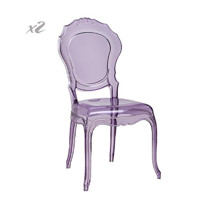 Set 2 Sedie Belle Epoque, trasparente viola - Dal Segno