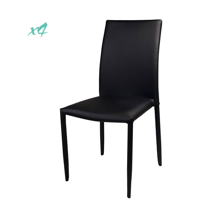 Set da 4 sedie ann rivestimento in similpelle nero for Sedie in similpelle