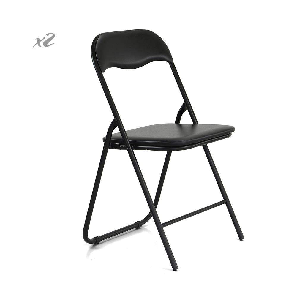Set 2 sedie slim pieghevoli in similpelle nero cribel for Sedie in similpelle