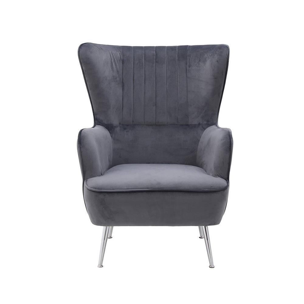 Poltrona berg re in velluto grigio come una suite for 3 stelle arreda