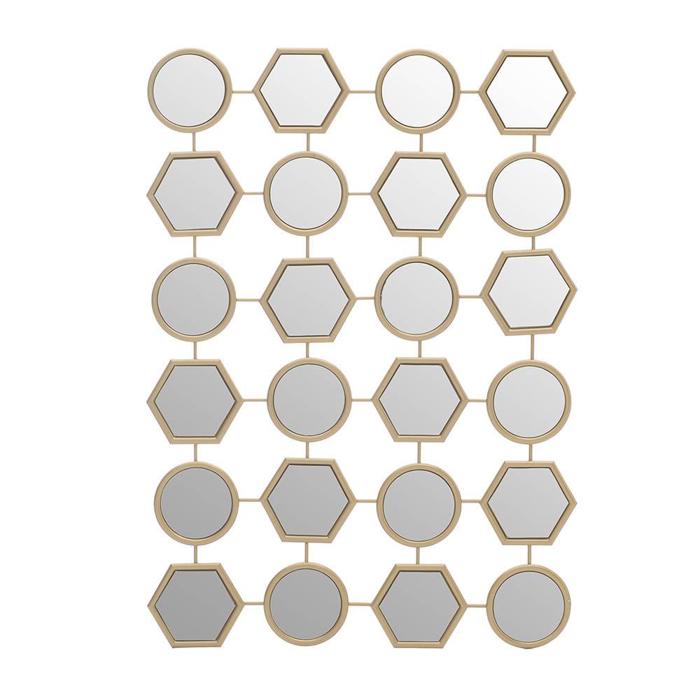 Specchio con parti mulitple e cornice in metallo dorata cm 60x85 stile glam chic acquista - Specchio con cornice dorata ...