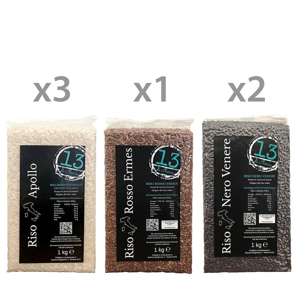 6 confezioni riso assortite da 1 kg 3 apollo 1 rosso for Cuocere 1 kg di riso