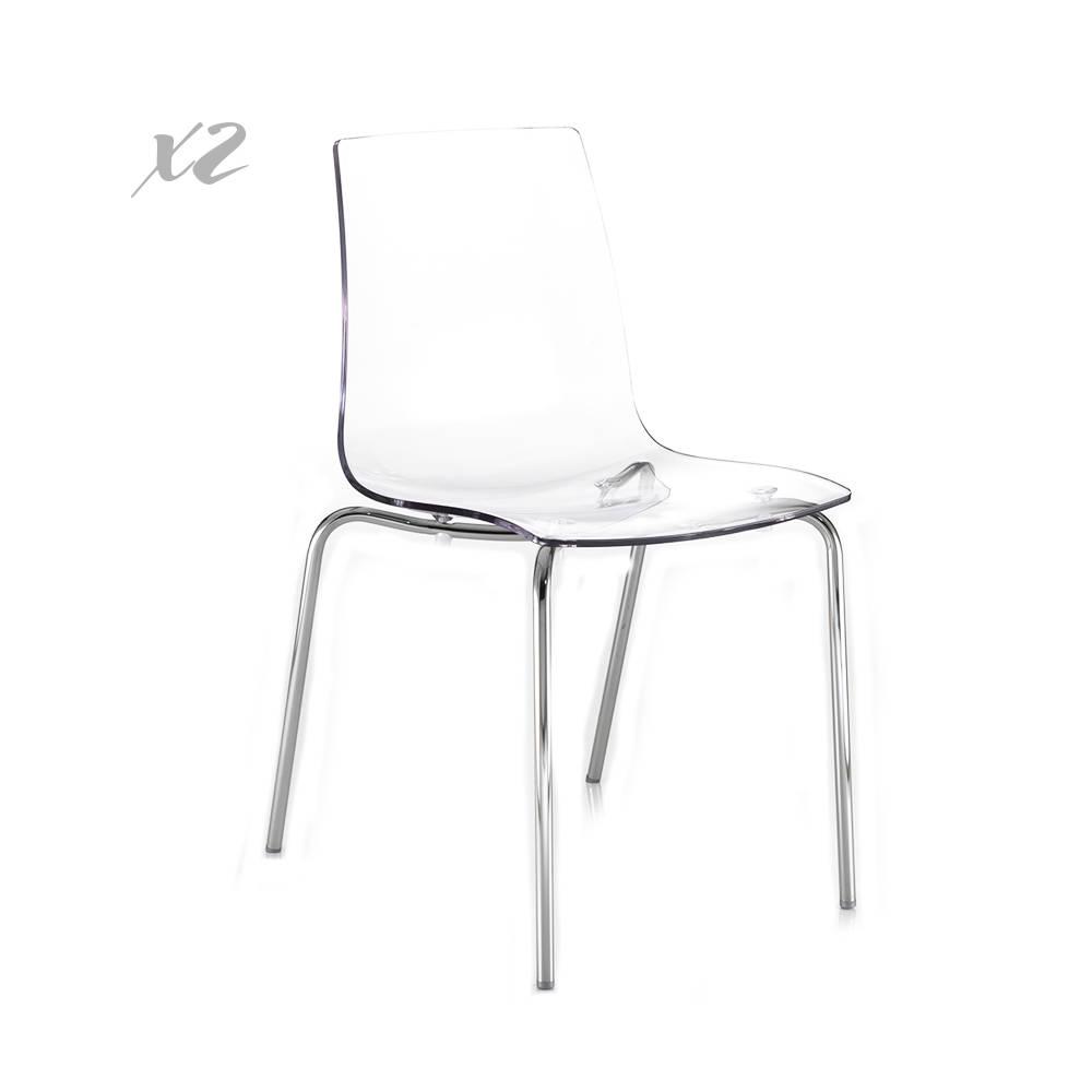 Set 2 sedie vail in policarbonato trasparente le for Sedie in policarbonato trasparente