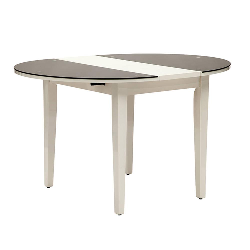 Tavolo da pranzo tondo allungabile, vetro e legno ...