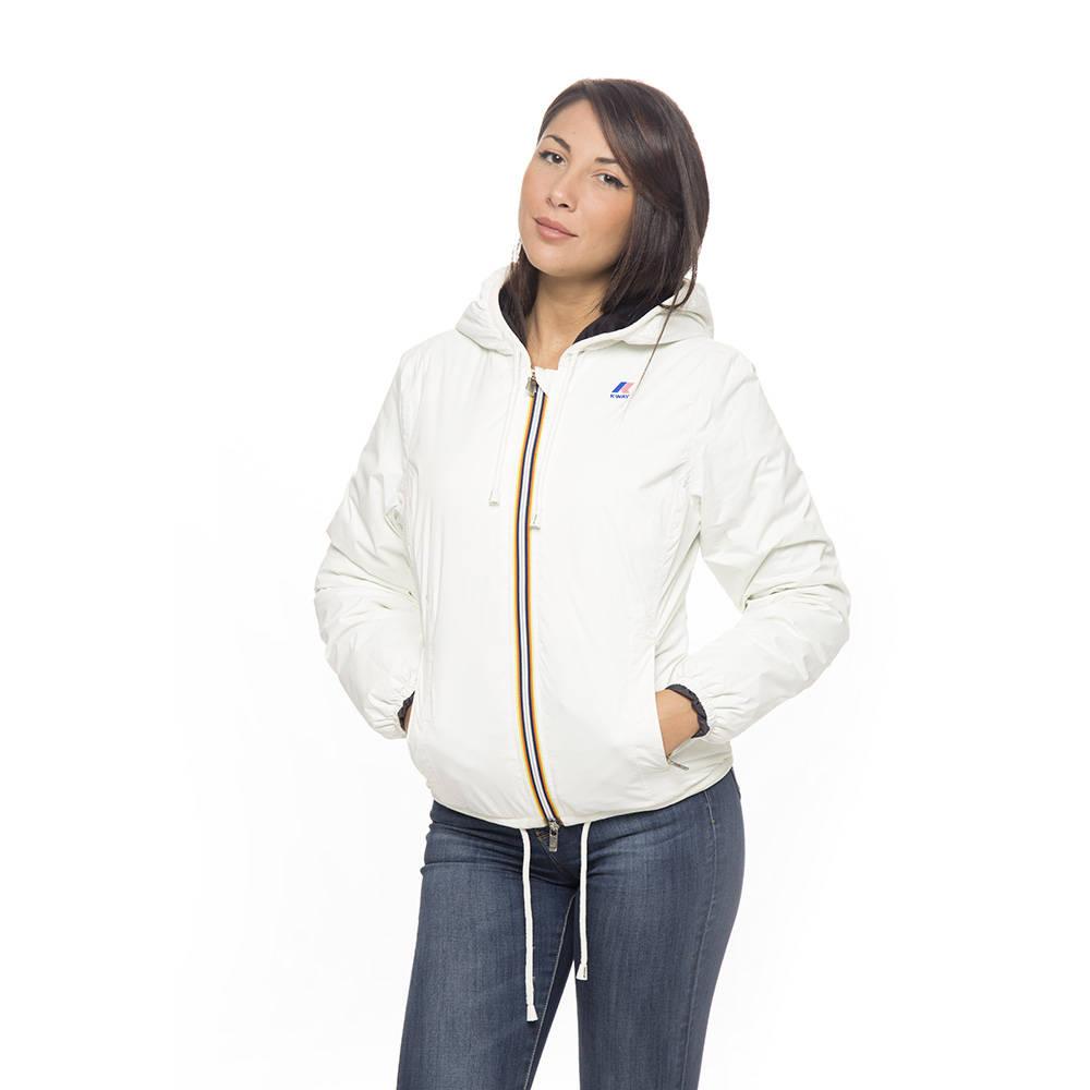 Piumino donna k way con pelo bianco boutique capispalla for Interno k way