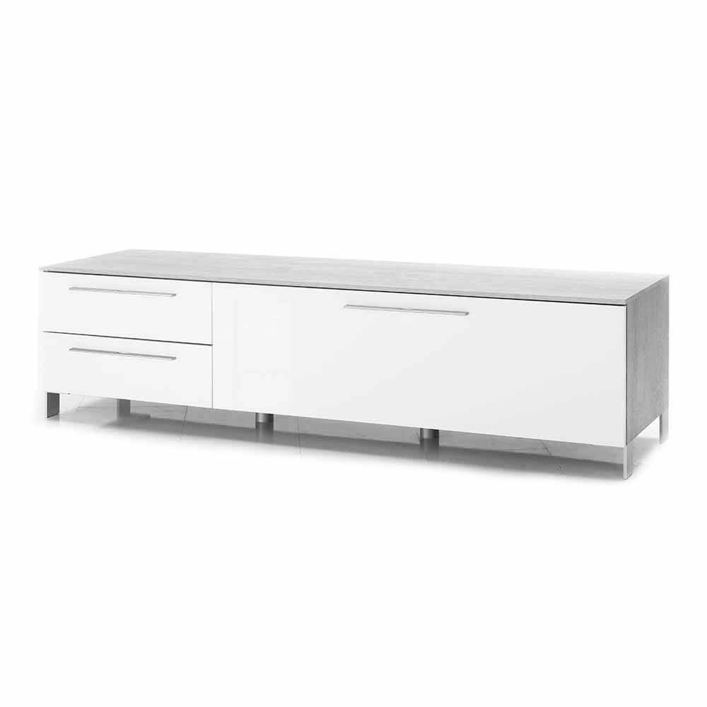 Evergreen House - Porta tv in laminato cemento/ bianco lucido