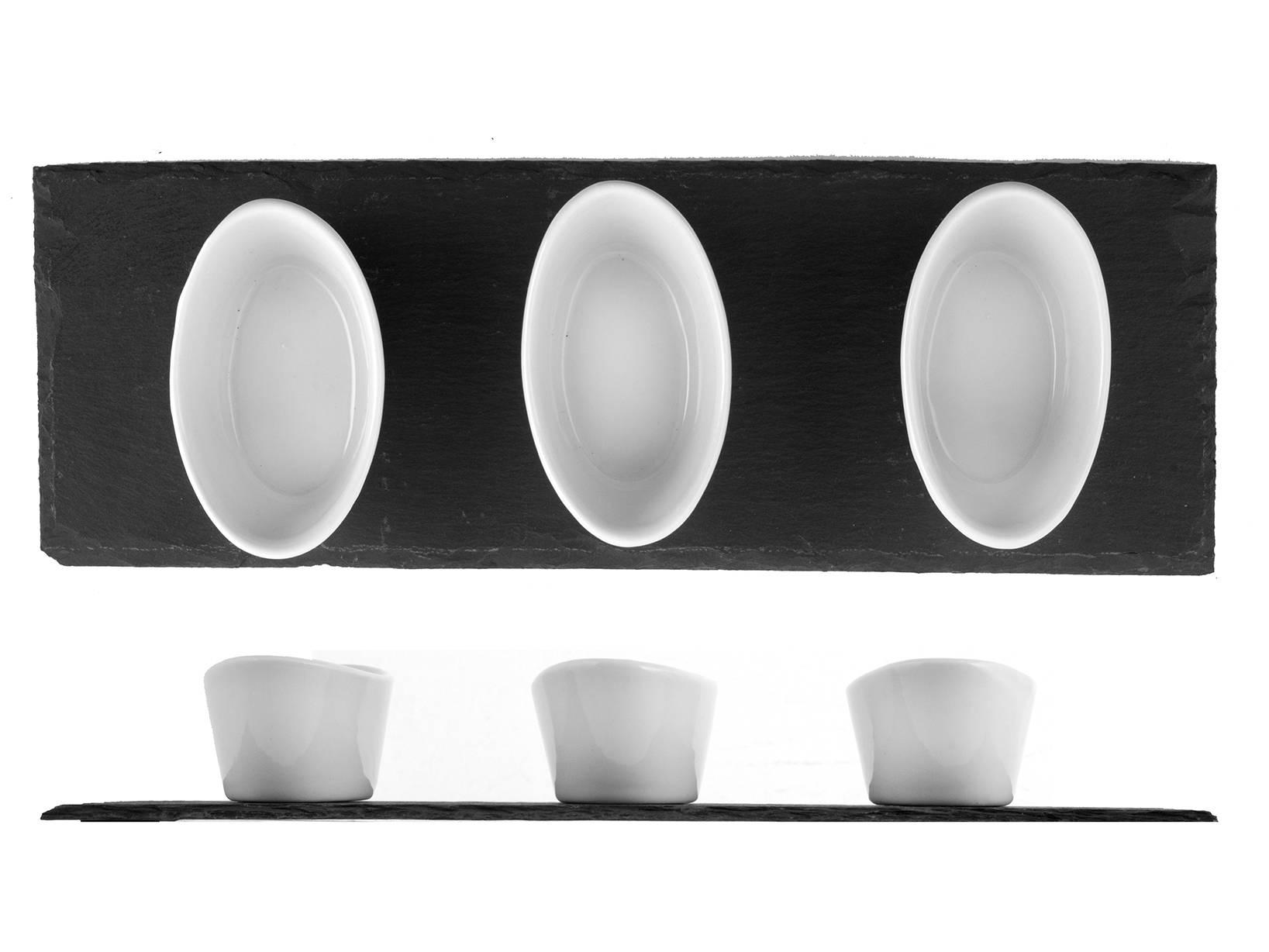 Vassoio in ardesia 30x10 con 3 coppe ovali h h for Ardesia per cucinare