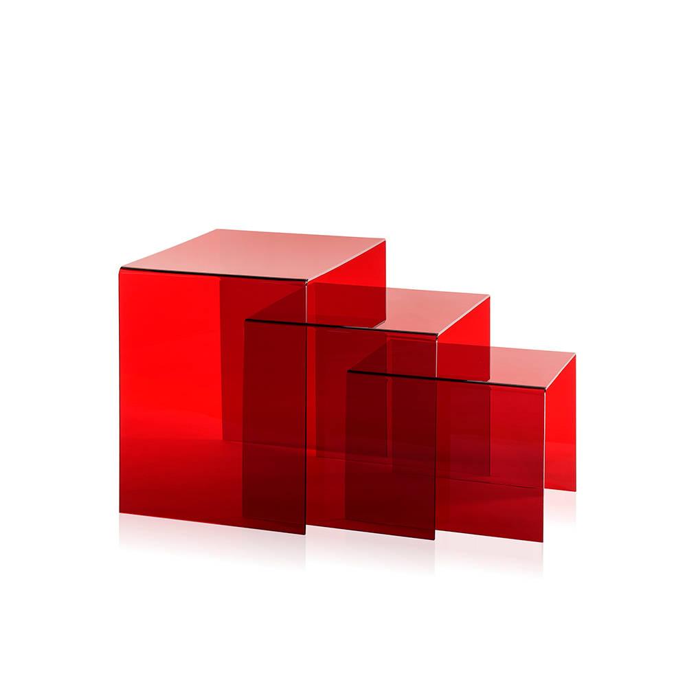 Set 3pz tavolino trix in plexiglass rosso le - Tavolino plexiglass ...