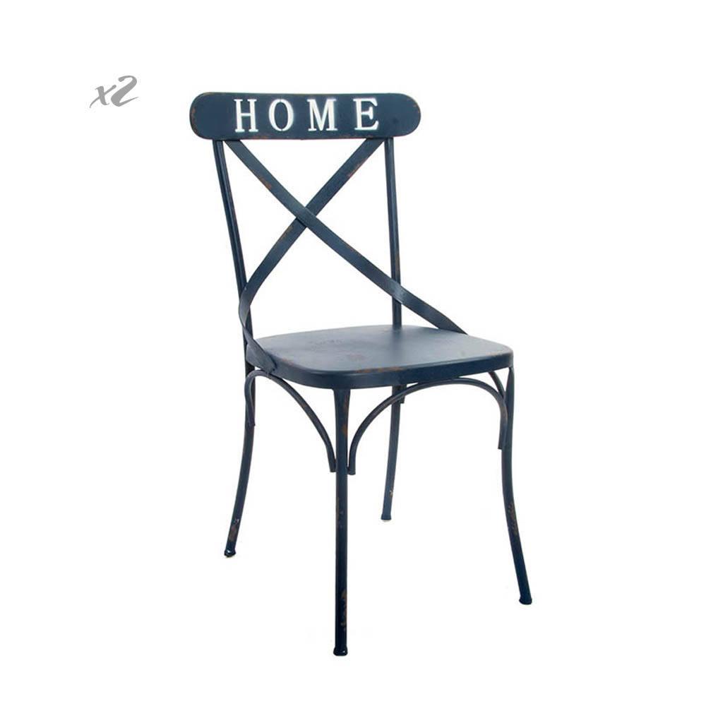 Set 2 Sedie Home in metallo invecchiato, blu - Industrial ...