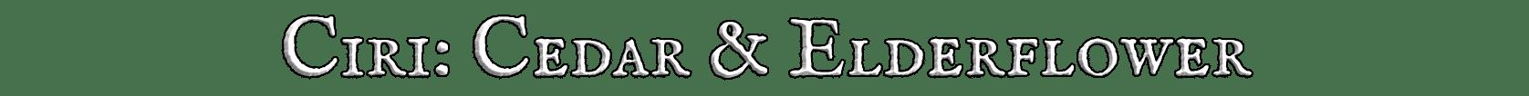 Ciri's Cedar & Elderflower