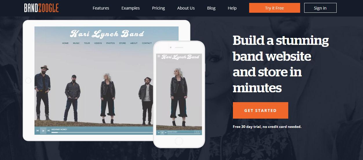 halaman website bandzoogle