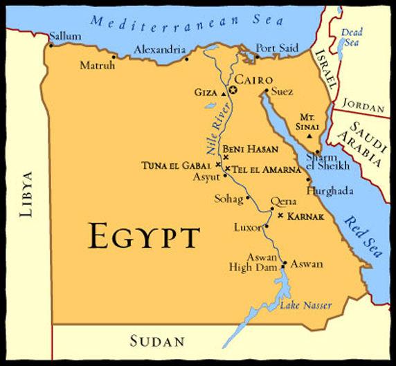 Egito - Mapa da regiao de Cairo a Hurghada