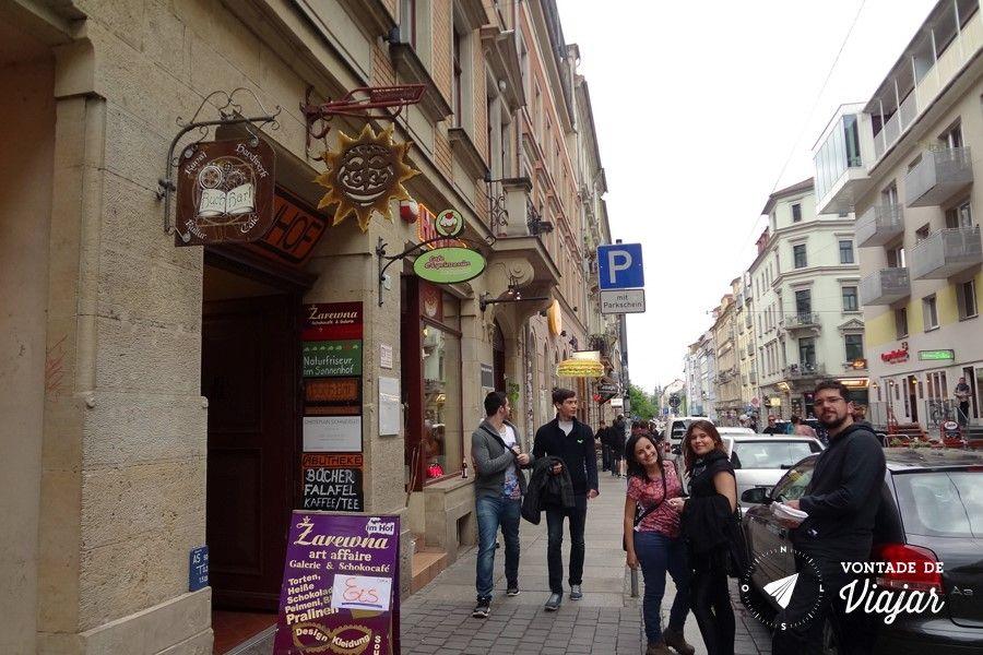 Dresden - Alaunstrasse rua de bares em Neustadt