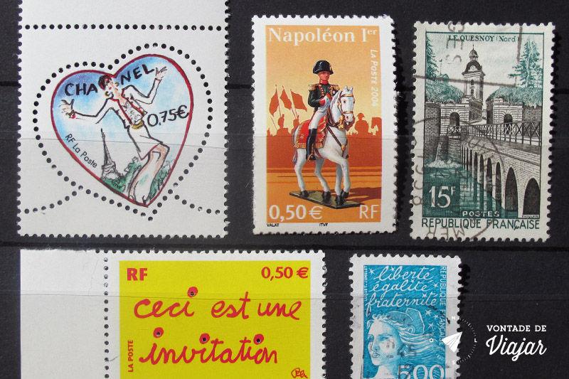 Colecao de selos - Selos da Franca de Napoleao a Chanel