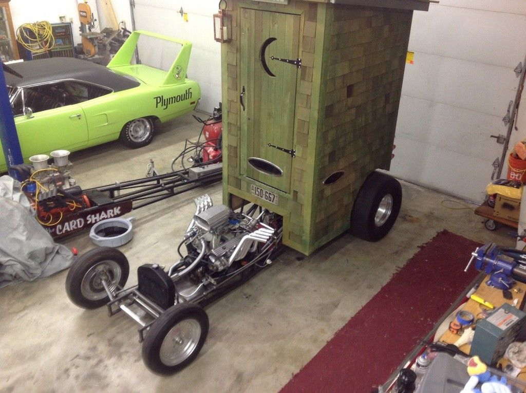Outhouse show car ,rat rod ,hotrod ,street rod ,worlds Fastest Wooden outhouse?