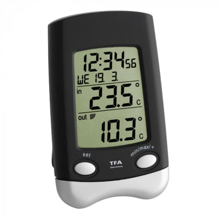Безжичен дигитален термометър с часовник TFA Wave черен