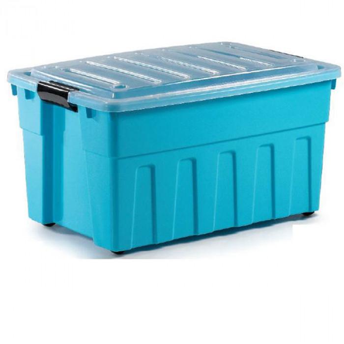 Кутия за съхранение с капак и колела 65L