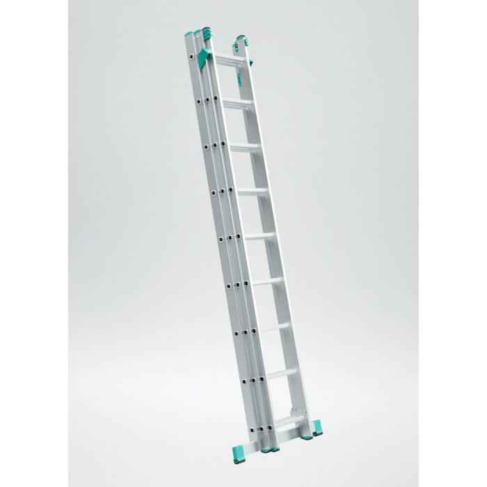 Алуминиева стълба 3 рамена по 9 стъпала 569см